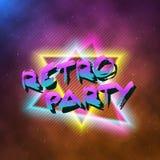 1980 Retro van de de Affiche Retro Disco van het Partijneon binnen gemaakte de jaren '80achtergrond Royalty-vrije Stock Afbeeldingen
