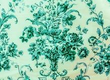 Retro van de Overzeese van het Kant Bloemen Naadloze Patroon Blauwe Kleurenstof Uitstekende Stijl Als achtergrond Royalty-vrije Stock Afbeelding