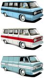 Retro van set. Vectorial icon set of American retro vans isolated on white backgrounds. Every van is in separate layers. File contains gradients and blends Stock Photography
