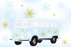 Retro van with white and golden snow flakes - Stock Illustration. Retro van with white and golden snow flakes vector illustration