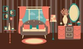 Vardagsrum Retro : Retro vardagsrum med den färgrika soffan stock illustrationer
