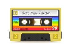 Retro vassoio Gli anni 80 d'annata mescolano il nastro, la tecnologia record sana stereo, partito di rave del DJ della vecchia sc illustrazione di stock
