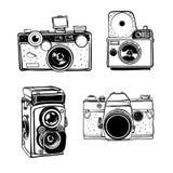 Retro vastgestelde vector de krabbelillustratie van de fotocamera Stock Fotografie