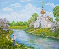 Retro, vecchi paesaggio con il fiume e chiesa ortodossa rurali La Russia Pittura a olio originale Pittura dell'autore s royalty illustrazione gratis
