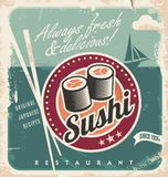 Retro vector background with sushi rolls. Royalty Free Stock Photos