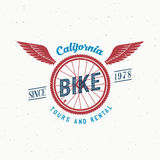 Retro Vector Bicycle Tours and Rental Label or. Logo Design with Shabby Texture. Good for T-shirts, Prints, Flayers, etc Stock Images