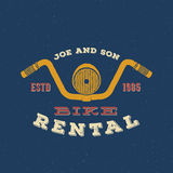 Retro Vector Bike Rental Label or Logo Design. With Shabby Texture and Typography. Good for T-shirts, Prints, Flayers, etc Royalty Free Stock Image