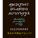 Retro vector brush script lettering font, Royalty Free Stock Image