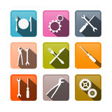 Retro Vector Buttons: Cogs, Gears, Screwdriver, Pincers, Spanner, Hand Wrench Tools. Retro Vector Buttons: Cogs, Gears, Screwdriver Pincers Spanner Hand Wrench Stock Photography