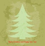 Retro vector Christmas card with fir tree Royalty Free Stock Photo