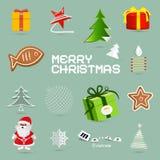 Retro Vector Christmas Symbols. Icons Set vector illustration
