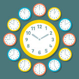 Retro Vector Clocks Showing All 12 Hours. Each clock is on a separate layer stock illustration