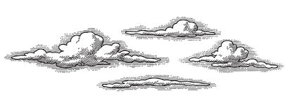 Retro vector clouds (vector). Vector retro clouds pattern, engraved looking design element stock illustration