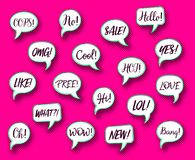 Retro vector comic speech bubbles chat expressions royalty free illustration