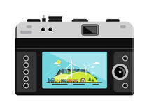 Retro Vector Digital Photo Camera. With Landscape on Display Isolated on White Background Stock Photography