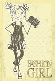 Retro vector fashion girl Stock Photos