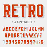 Retro vector font. Letters, numbers and symbols. Vintage alphabet for labels, headlines, posters etc Royalty Free Stock Photo