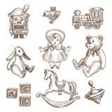 Retro vector geplaatste pictogrammen van de speelgoedschets vector illustratie