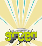 Retro vector go green. Writing go green, save our world with retro background Stock Images