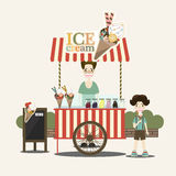 Retro vector ice cream cart. Ice cream seller and children. Vector illustration Stock Photography
