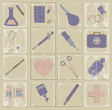 Retro vector icons medicine Royalty Free Stock Image