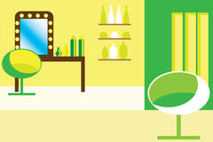 Retro vector interior. In green colors Stock Images
