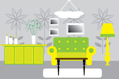 Retro vector interior. In green and yellow Stock Image