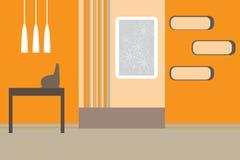 Retro vector interior. In orange colors Royalty Free Stock Photos