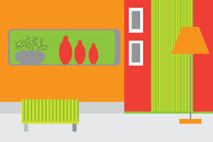 Retro vector interior. In red and green colors Royalty Free Stock Image