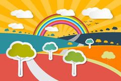 Retro Vector Landscape Illustration Royalty Free Stock Images