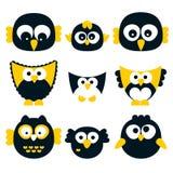 Retro vector owls. Cute owl families, vector illustration Royalty Free Stock Photos