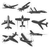 Retro Vector planes set. Set of Vintage airplanes from different angles. Planes silhouettes. battle-plane.   Logotype, emblem,label design elements in vector Royalty Free Stock Photos