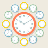 Retro Vector Roman Numeral Clocks Showing All 12 Hours Royalty Free Stock Photos