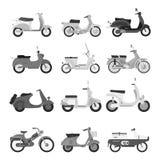 Retro vector scooter silhouette illustration. Stock Photo
