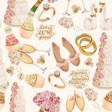 Retro vector seamless pattern with wedding icons on light background for wedding invitation Royalty Free Stock Image