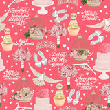 Retro vector seamless pattern with wedding icons on pink background Stock Images