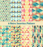 8 Retro vector seamless patterns set Stock Photography
