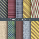 10 retro vector seamless patterns. Textures for wallpaper, fills, web page background. Set of geometric ornaments Royalty Free Stock Photography