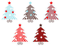 Retro vector Trees collection ( red striped ). Stylized vector christmas Trees collection in graphic style Stock Photo