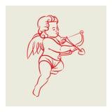 Retro vector van de Cupidoengel Royalty-vrije Stock Afbeelding