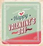 Retro vector van de Kaart van de Dag van Valentijnskaarten Stock Afbeelding
