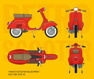 Retro vector vespa scooter blueprint Stock Photos