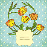 Retro vector vignette background with tulips flowers Royalty Free Stock Photography