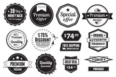 Retro Vector Vintage Seals, Labels, Stamps And But. A set of 14  graphics, including badges, buttons and price tags Royalty Free Stock Photo