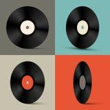 Retro Vector Vinylverslagen Geplaatst Illustratie Stock Foto