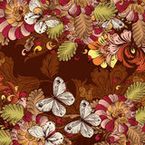 Retro vector wallpaper pattern with swirl floral. Element Royalty Free Stock Photography
