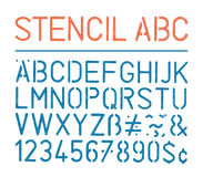 Retro vectoralfabet en de aantallen van de grungestencil op witte achtergrond Stock Afbeelding
