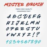 Retro vectoralfabet van de typedoopvont met de hand geschreven met pe van de borstelteller Stock Fotografie