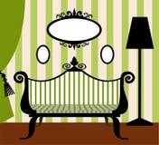 Retro vectorbinnenland in groen en zwart Royalty-vrije Stock Afbeelding