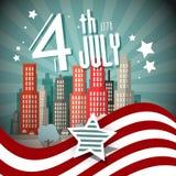 4 Retro Vectorillustratie van Juli Stock Afbeelding
